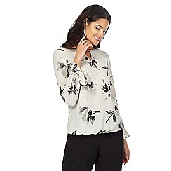 The Collection - Grey floral print flute sleeve blouse