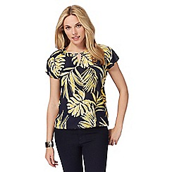 The Collection - Navy palm print top