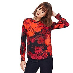 The Collection - Dark red floral print top