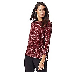 The Collection - Dark red spotted top