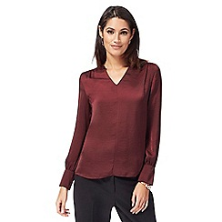 The Collection - Dark red satin notch neck top