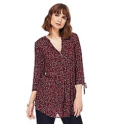 The Collection - Dark red blue spot print woven blouse