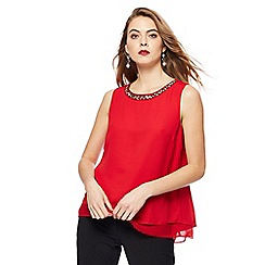 The Collection - Red sleeveless necklace top