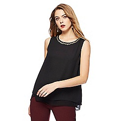 The Collection - Black sleeveless necklace top