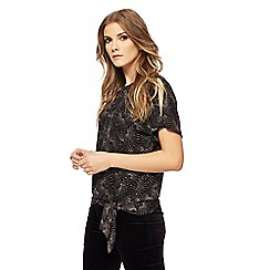 The Collection - Black glitter patterned tie top