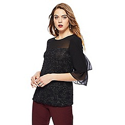 The Collection - Black frill sleeve sparkle top