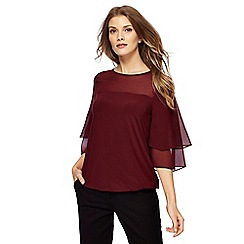 The Collection - Dark red frill sleeves top