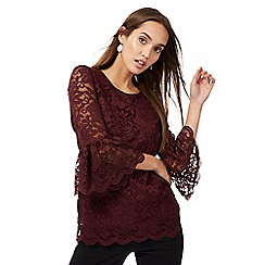 The Collection - Wine red lace flute sleeves top