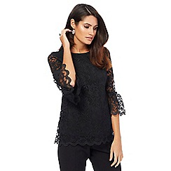 The Collection - Black lace flute sleeves top
