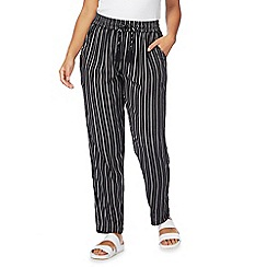 The Collection - Black striped straight leg petite trousers