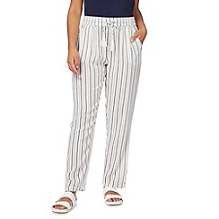 The Collection - White striped straight leg trousers