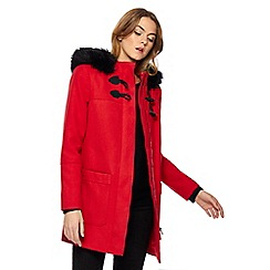The Collection - Red faux fur trim duffle coat