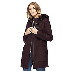 The Collection - Plum hooded faux fur trim duffle coat