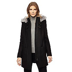 The Collection - Black faux fur trim duffle coat
