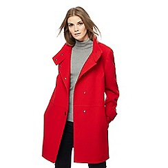 The Collection - Red twill funnel neck coat