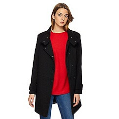 The Collection - Black twill funnel neck coat