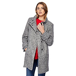 The Collection Petite - Grey salt and pepper petite boucle coat