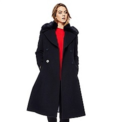 The Collection - Navy faux fur collar wool rich coat