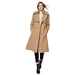The Collection - Beige faux fur collar wool rich coat