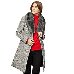 The Collection - Grey speckle textured fur collar coat