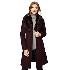 The Collection - Dark purple faux fur collar dolly coat