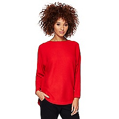 The Collection - Red textured dolman sleeves jumper