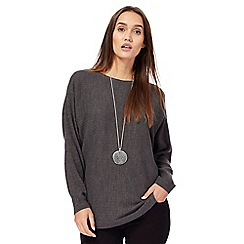 The Collection - Grey textured dolman sleeves jumper