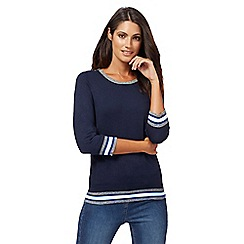 The Collection Petite - Navy zipped shoulder jumper