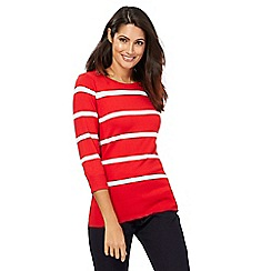 The Collection - Red striped zip detail jumper