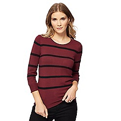 The Collection - Dark red striped zip detail jumper