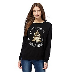 The Collection - Black 'Jingle ladies' slogan Christmas jumper