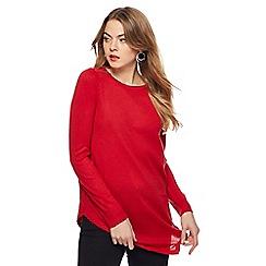 The Collection - Red zip shoulder asymmetric hem jumper