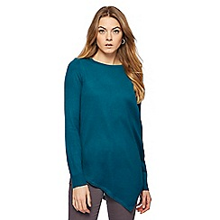 The Collection - Dark turquoise zip shoulder asymmetric hem jumper