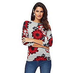 The Collection Petite - Grey floral print petite jumper