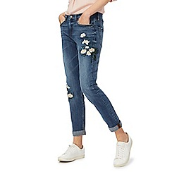 The Collection - Blue floral embroidered girlfriend jeans