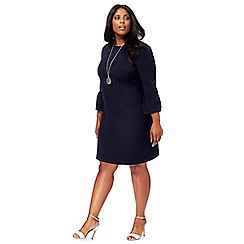 The Collection - Navy flute sleeves plus size shift dress