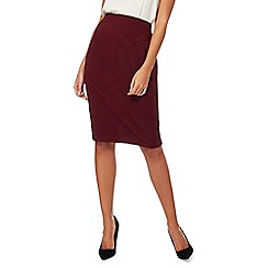 The Collection - Dark red textured pencil skirt