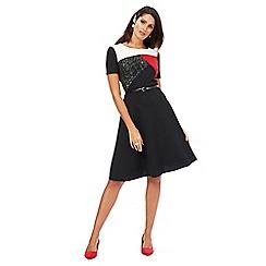 The Collection - Black colour block print plus size skater dress