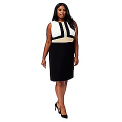The Collection - Black and white plus size pencil dress