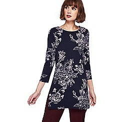 The Collection - Navy floral print tunic top
