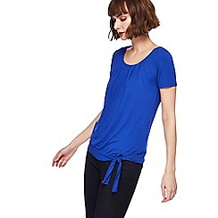 The Collection - Blue jersey self-tie hem top