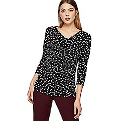 The Collection - Black scratchy spot print cowl neck top