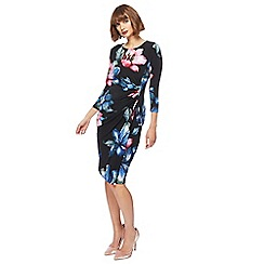 The Collection - Black floral print 3/4 length sleeves knee length dress