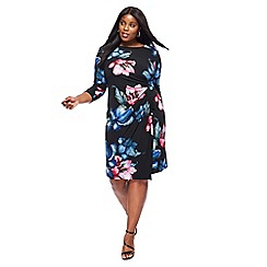 The Collection - Black floral print 3/4 length sleeves knee length plus size dress