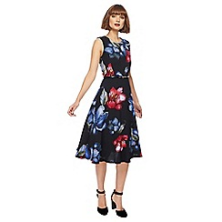 The Collection - Black floral print midi skater dress