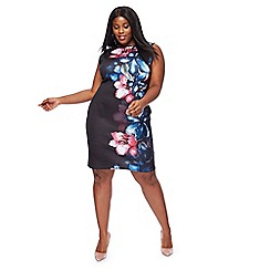 The Collection - Black floral print scuba knee length plus size pencil dress
