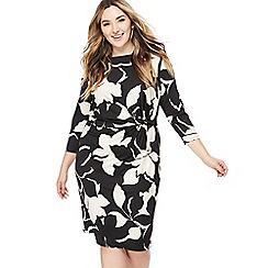 The Collection - Black floral print knee length plus size dress