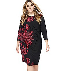 The Collection - Black floral print midi length plus size dress