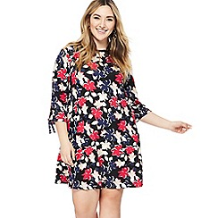 The Collection - Multi-coloured floral print knee length plus size dress