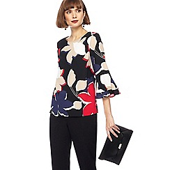 The Collection - Multi-coloured floral print fluted sleeves top